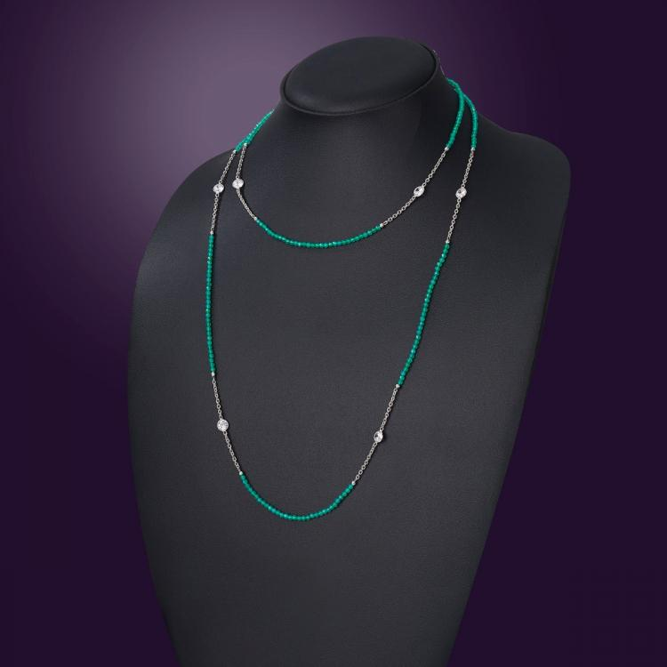 Nazakat Green Long Necklace