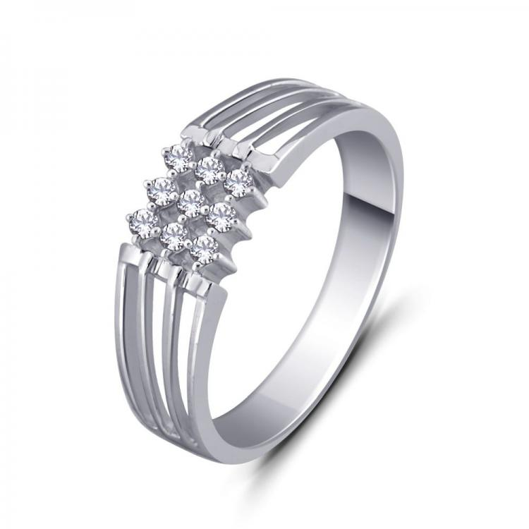 Triple channel cubic zirconia Ring