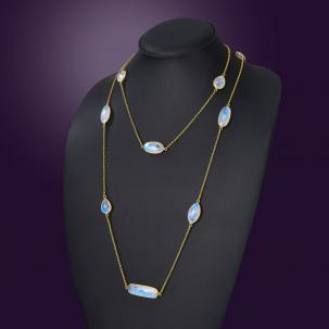 Rainbow Moonstone Long Necklace