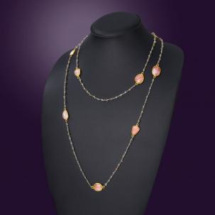 Nazakat  Pink Long Necklace