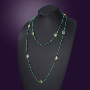 Nazakat Green Aqua Long Necklace